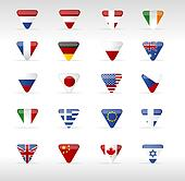 Vector world flags triangle arrow