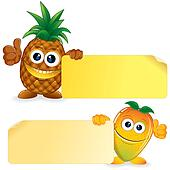 Pineapple with Mango. Cartoon Illustration