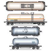 Isolated Railroad Oil Tanks. Illustration