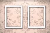 empty frames on the wall. Vintage background