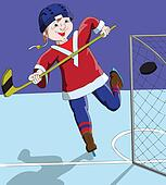 Boy ice hockey player scored a goal