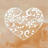 Heart applique on watercolour background