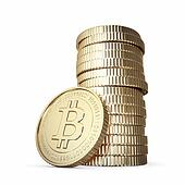 Golden stack of Bitcoin