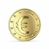golden euro coin on white backgroun