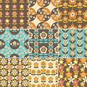 Set of 70s Seamless Patterns Design
