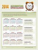 2014 Accounting Calendar with week numbers vector