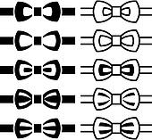 vector bow tie black white symbols