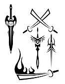 edged weapon tattoos black and whit