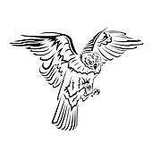 falcon flight tattoo black and whit
