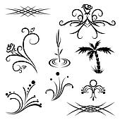 plant tattoo patterns black and whi