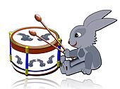 Illustration. The Hare and the drum