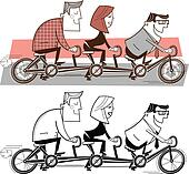 Team riding a bicycle