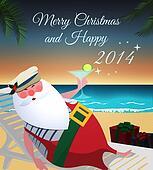 Santa relaxing on tropic beach