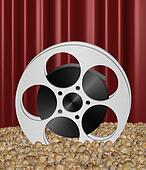 Movie reel in popcorn