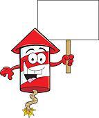 Cartoon Firecracker Holding a Sign