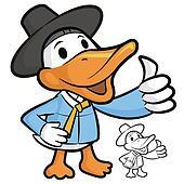 Duck Mascot the Right hand best gesture. Bird Character Design S