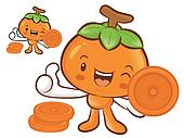 Persimmon Mascot the Left hand best gesture. Fruit Character Des