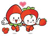 Strawberry Couple characters to promote fruit selling. Fruit Cha