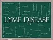 Lyme Disease Word Cloud Concept on a Blackboard