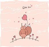 love squirrel card vector
