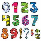 numbers and signs funny set