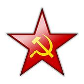 Glossy icon in the shape of the red star