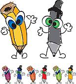 Mr. Pencil & Mr. Pen Characters ill