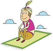 sitting on flying carpet