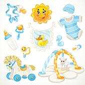 Set of blue baby toys