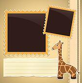 Photo album page with giraffe