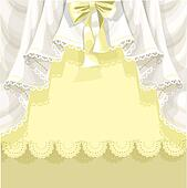Yellow background with lace curtain