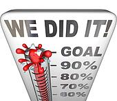We Did It Thermometer Goal Reached 100 Percent Tally