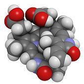 Bilirubin heme breakdown product, molecular model