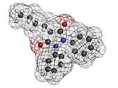 phenylbutazone (bute) horse painkiller, molecular model
