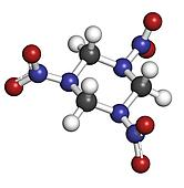 RDX (cyclonite, hexogen) explosive molecule, chemical structure