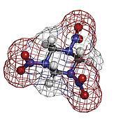 RDX (cyclonite, hexogen) explosive molecule, chemical structure