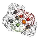Sarin nerve agent, molecular model. Sarin is a chemical weapon,