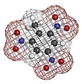 Trinitrotoluene (TNT) explosive molecule, chemical structure