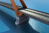 Bridge over the ocean. 3d illustration