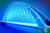 wireframe 3d  render of a bridge