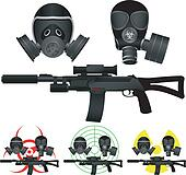 sniper rifle and gas masks