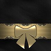 Gift ribbon on black background (gold)