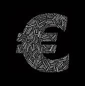 Euro Sign Shaped Vector Word Cloud with European Cities Words on