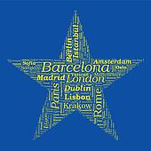Star Shaped European Cities Vector Word Cloud on white background