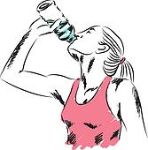 sport woman drinking a bottle of wa