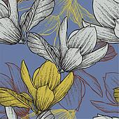 Seamless pattern with blossoming magnolias, hand-drawing. Vector
