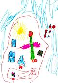 child's drawing - angel under sleeping child