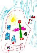 child's drawing - angel under sleeping child