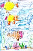 child's drawing - fishes in sea