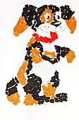 child's applique - pied dog